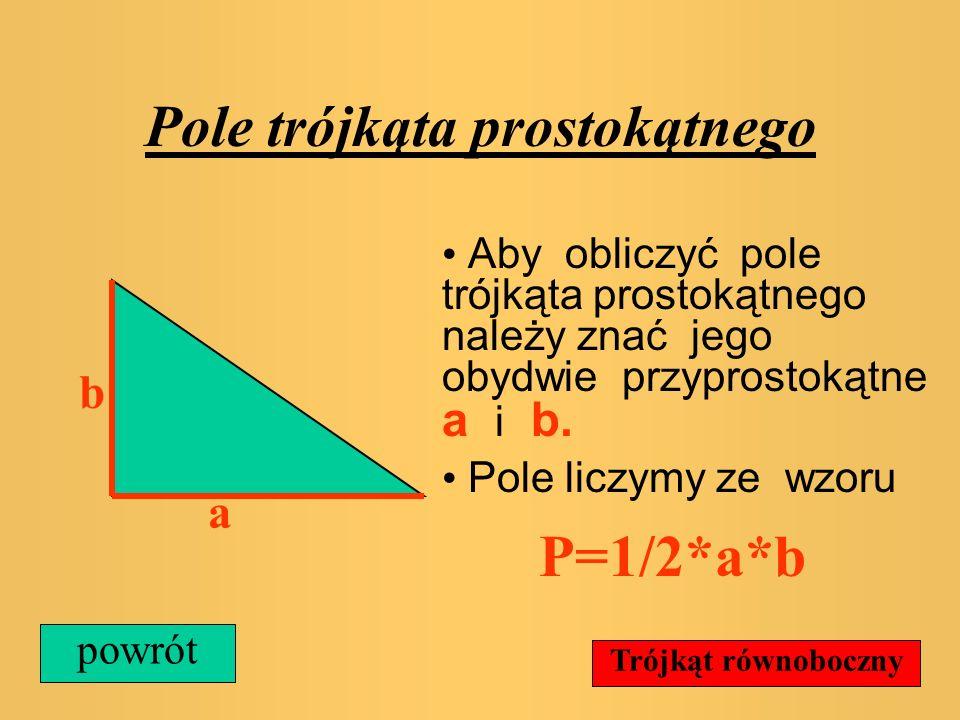 Pole trójkąta prostokątnego