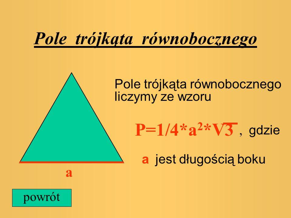 Pole trójkąta równobocznego