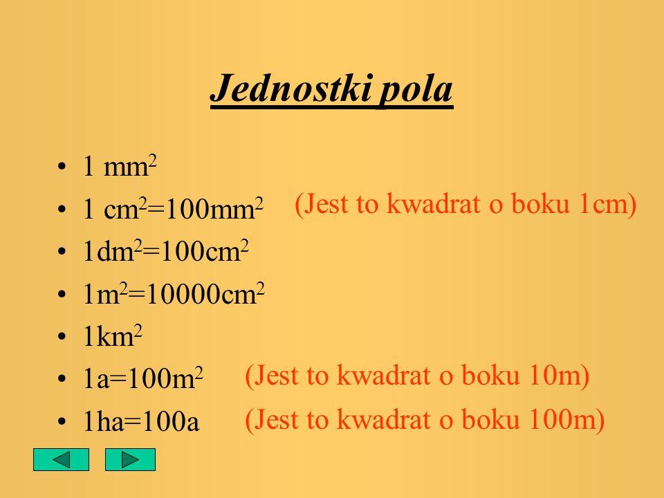Jednostki pola 1 mm2 1 cm2=100mm2 1dm2=100cm2