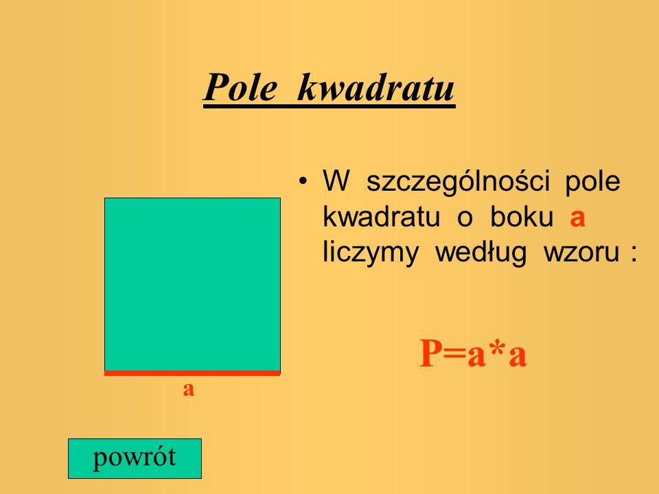 Pole kwadratu W szczególności pole kwadratu o boku a liczymy według wzoru : P=a*a a powrót