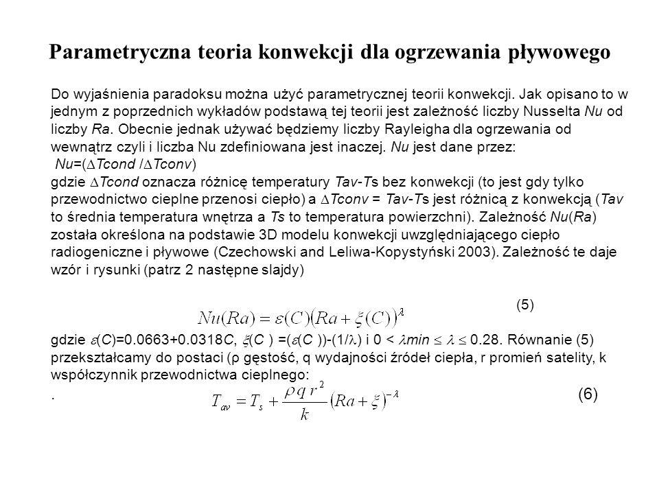Parametryczna teoria konwekcji dla ogrzewania pływowego