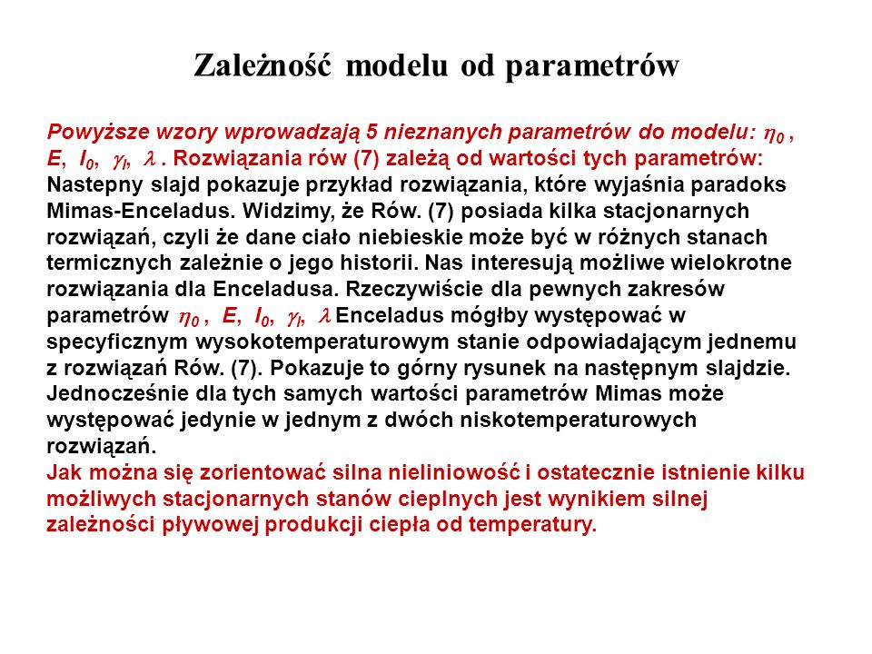 Zależność modelu od parametrów