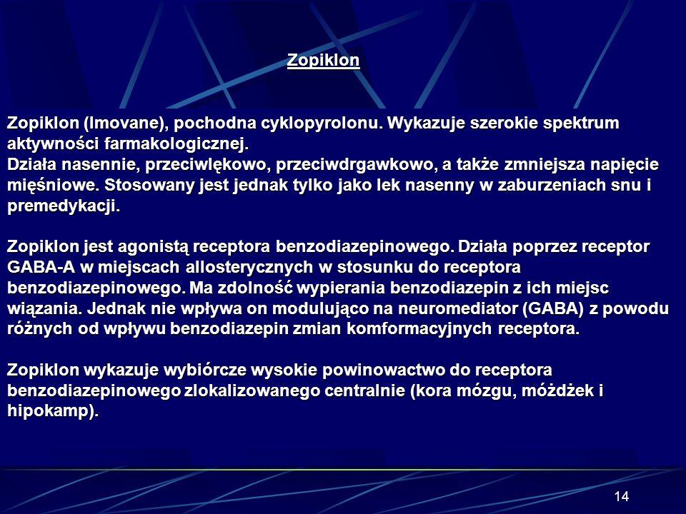 Zopiklon Zopiklon (Imovane), pochodna cyklopyrolonu. Wykazuje szerokie spektrum aktywności farmakologicznej.