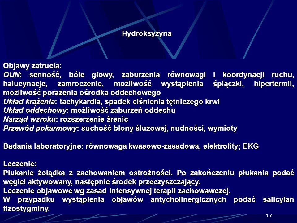 Hydroksyzyna Objawy zatrucia: