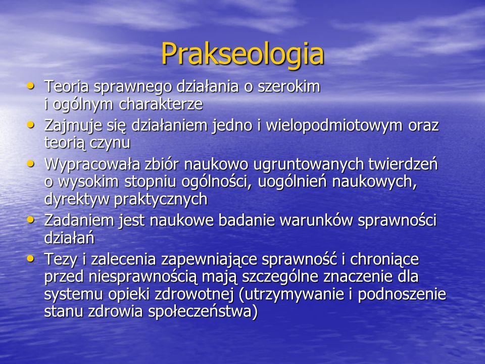 Prakseologia Teoria sprawnego działania o szerokim i ogólnym charakterze. Zajmuje się działaniem jedno i wielopodmiotowym oraz teorią czynu.