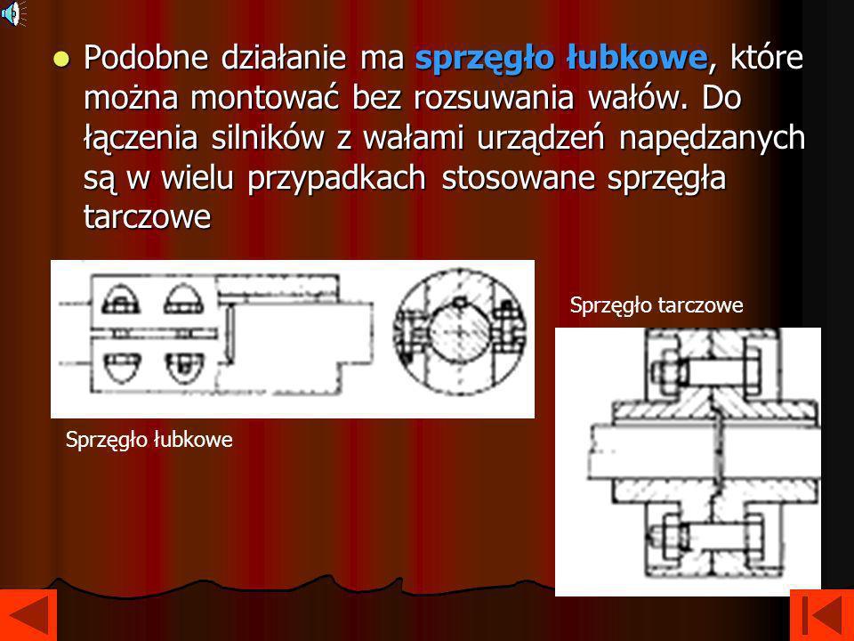 Podobne działanie ma sprzęgło łubkowe, które można montować bez rozsuwania wałów. Do łączenia silników z wałami urządzeń napędzanych są w wielu przypadkach stosowane sprzęgła tarczowe
