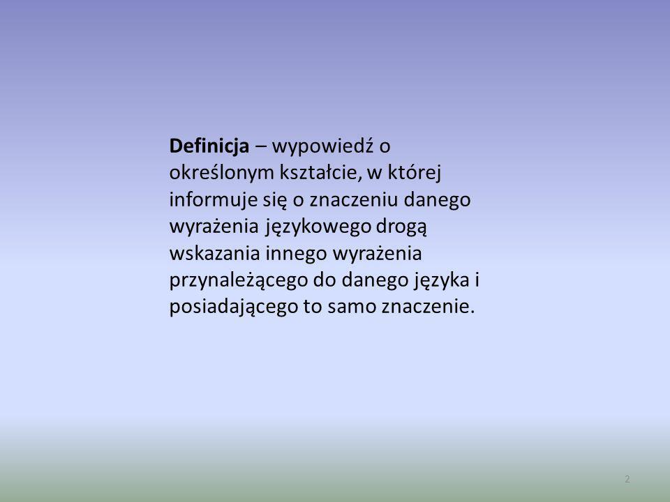Definicja – wypowiedź o określonym kształcie, w której informuje się o znaczeniu danego wyrażenia językowego drogą wskazania innego wyrażenia przynależącego do danego języka i posiadającego to samo znaczenie.