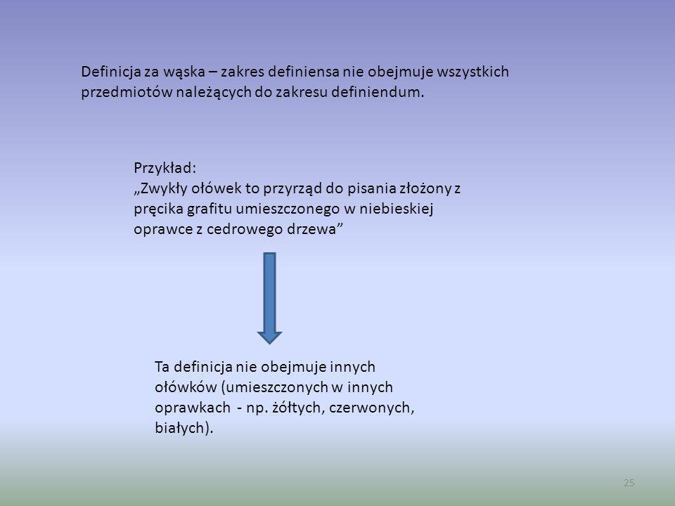 Definicja za wąska – zakres definiensa nie obejmuje wszystkich przedmiotów należących do zakresu definiendum.