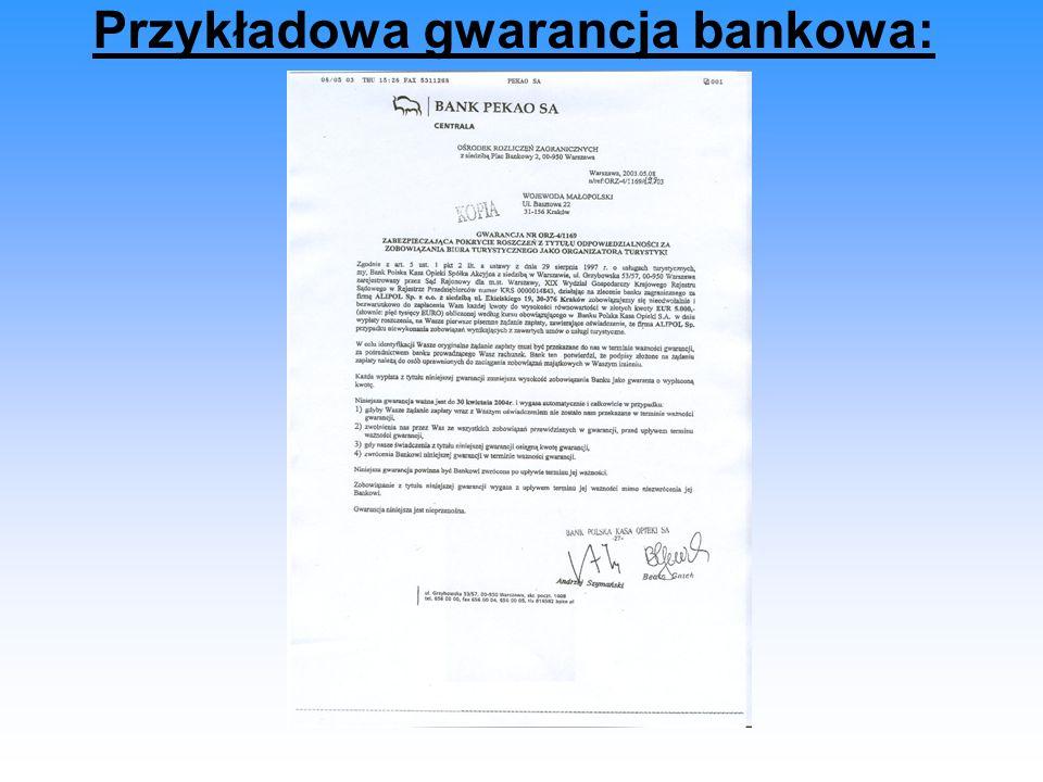 Przykładowa gwarancja bankowa: