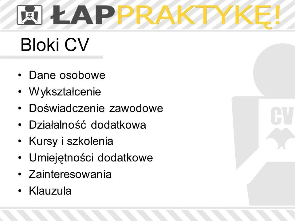 Bloki CV Dane osobowe Wykształcenie Doświadczenie zawodowe