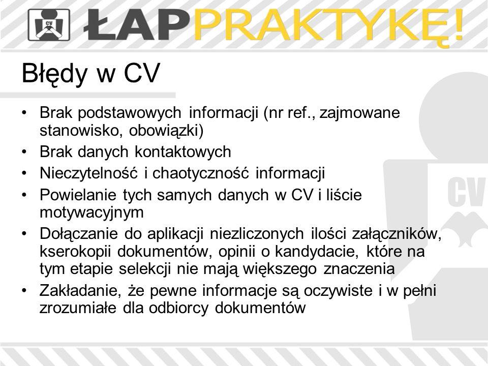 Błędy w CV Brak podstawowych informacji (nr ref., zajmowane stanowisko, obowiązki) Brak danych kontaktowych.