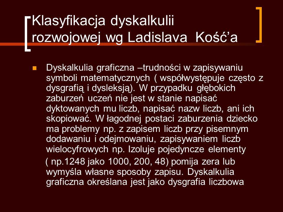 Klasyfikacja dyskalkulii rozwojowej wg Ladislava Kość'a