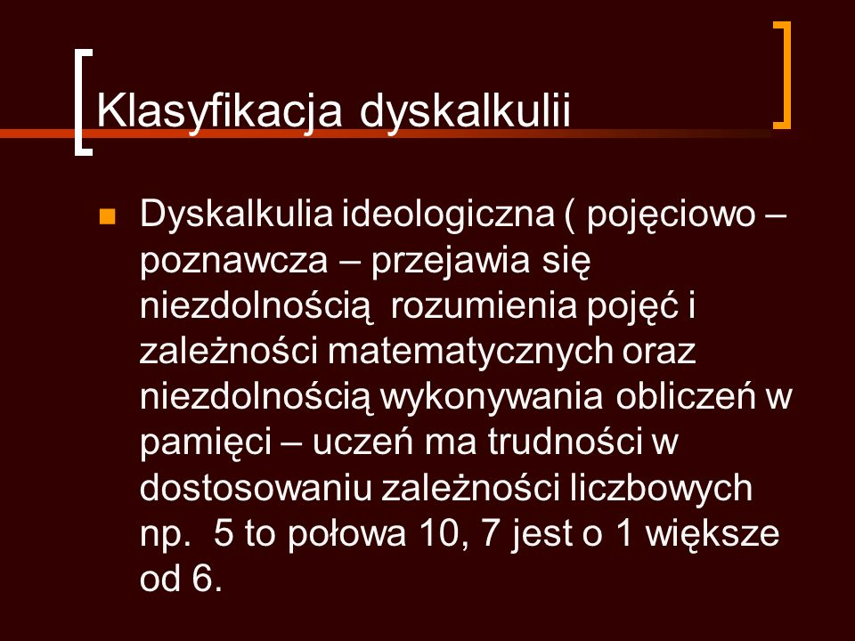Klasyfikacja dyskalkulii