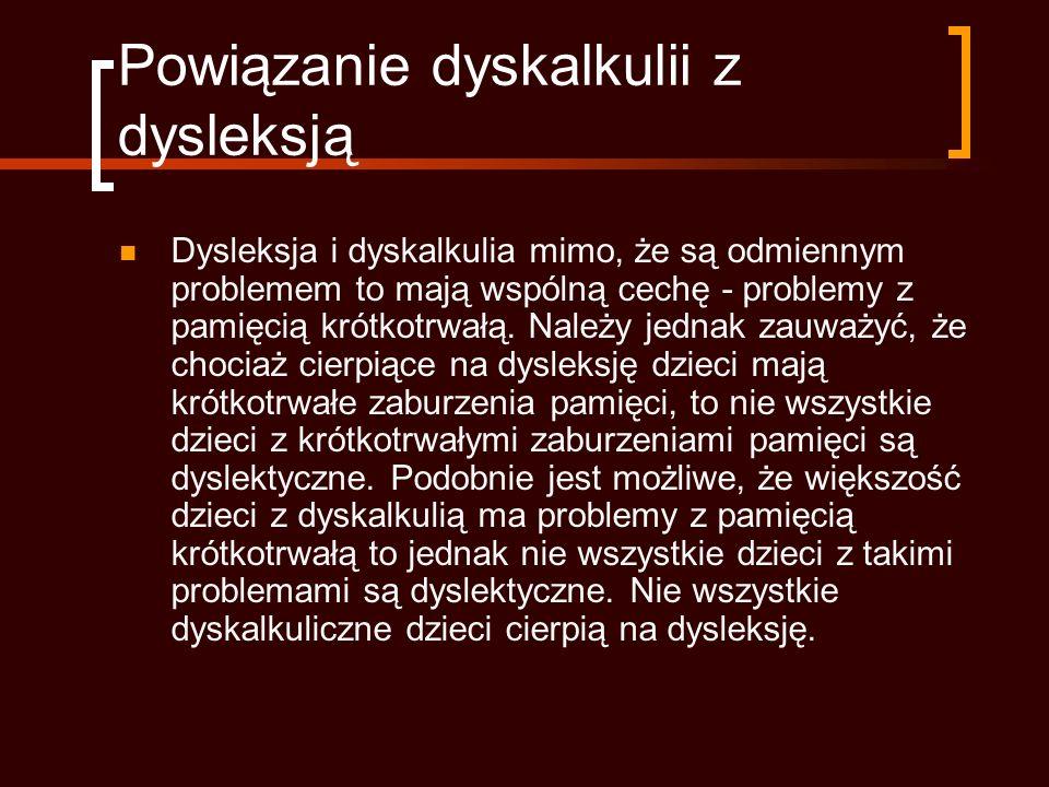 Powiązanie dyskalkulii z dysleksją
