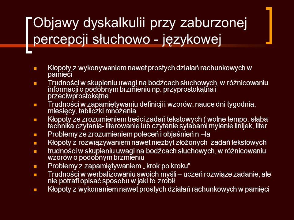 Objawy dyskalkulii przy zaburzonej percepcji słuchowo - językowej
