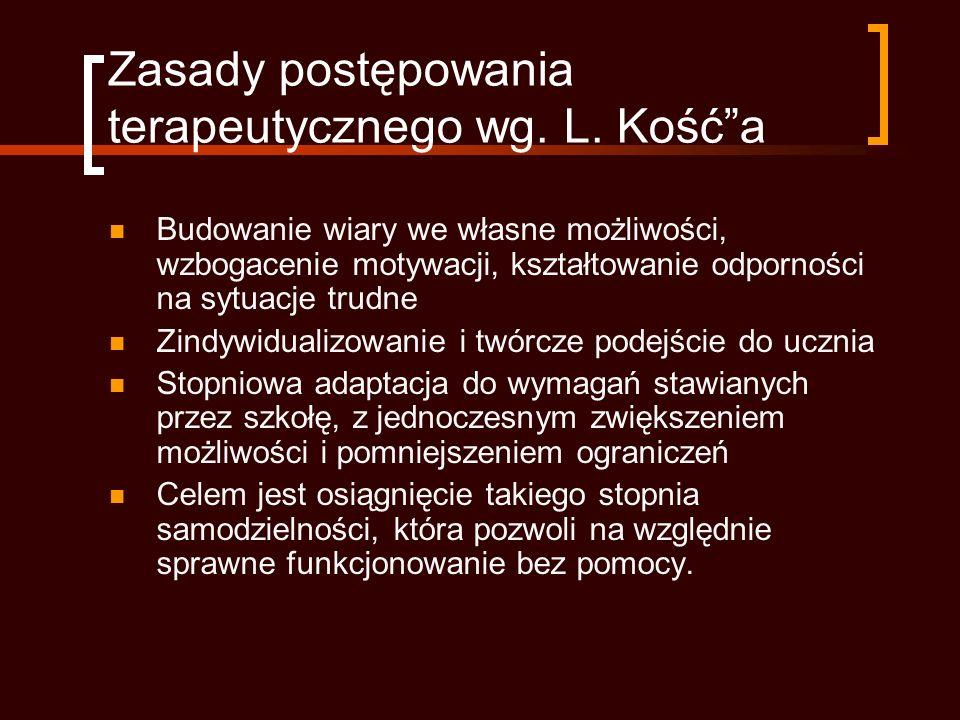 Zasady postępowania terapeutycznego wg. L. Kość a