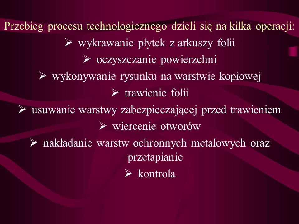 Przebieg procesu technologicznego dzieli się na kilka operacji: