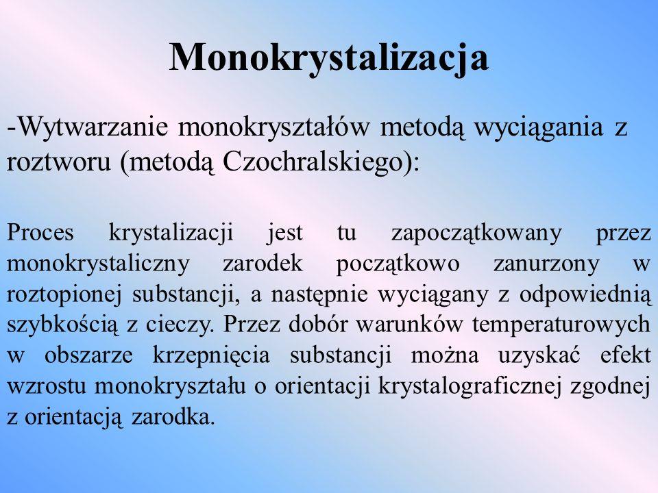 Monokrystalizacja -Wytwarzanie monokryształów metodą wyciągania z roztworu (metodą Czochralskiego):