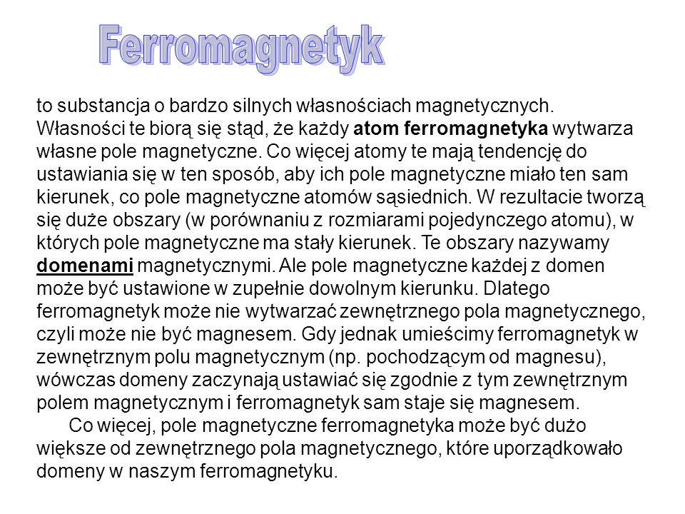 Ferromagnetyk to substancja o bardzo silnych własnościach magnetycznych.