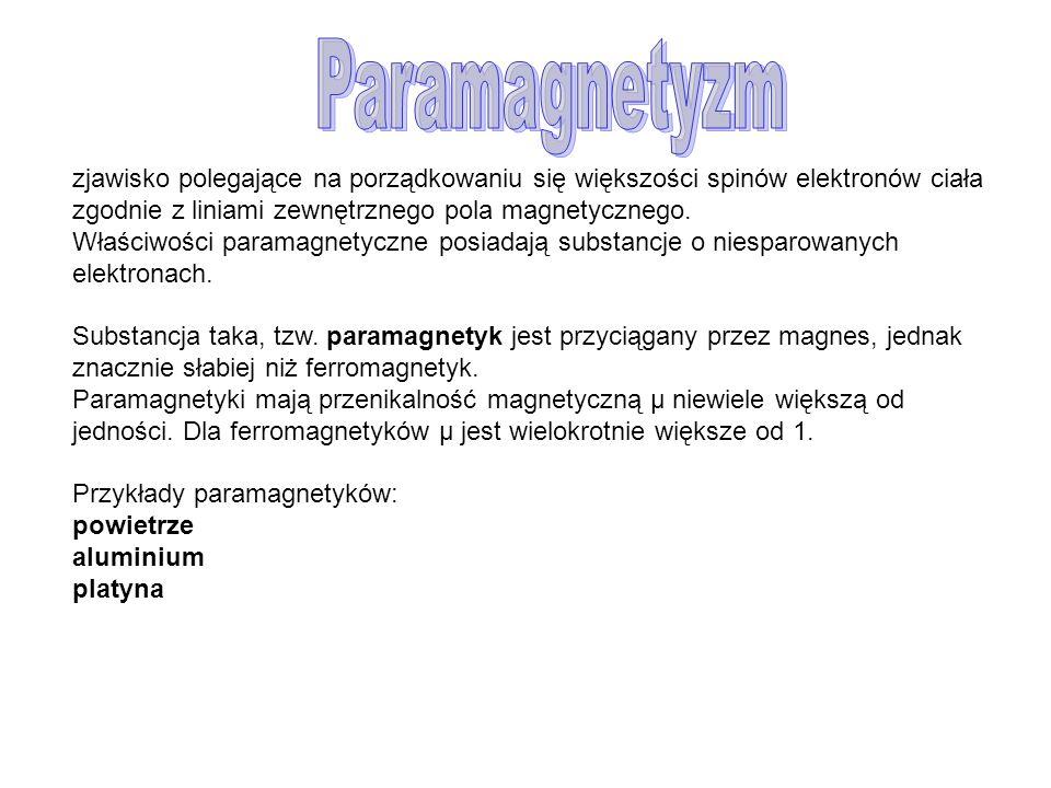 Paramagnetyzm zjawisko polegające na porządkowaniu się większości spinów elektronów ciała zgodnie z liniami zewnętrznego pola magnetycznego.