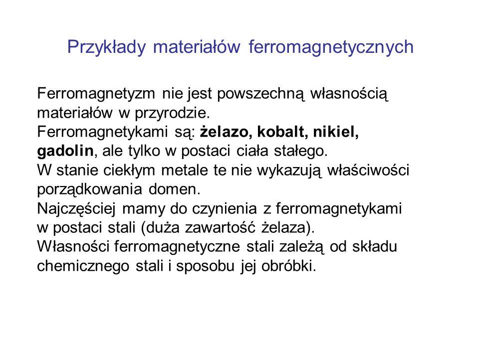 Przykłady materiałów ferromagnetycznych