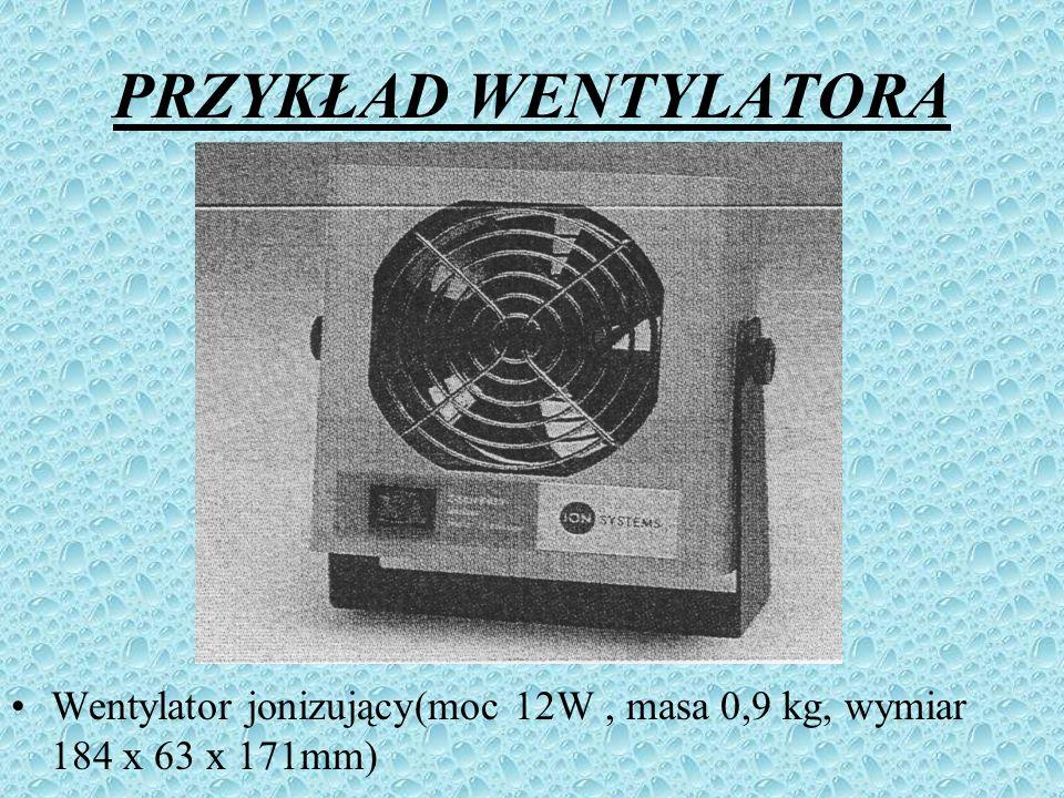 PRZYKŁAD WENTYLATORA Wentylator jonizujący(moc 12W , masa 0,9 kg, wymiar 184 x 63 x 171mm)