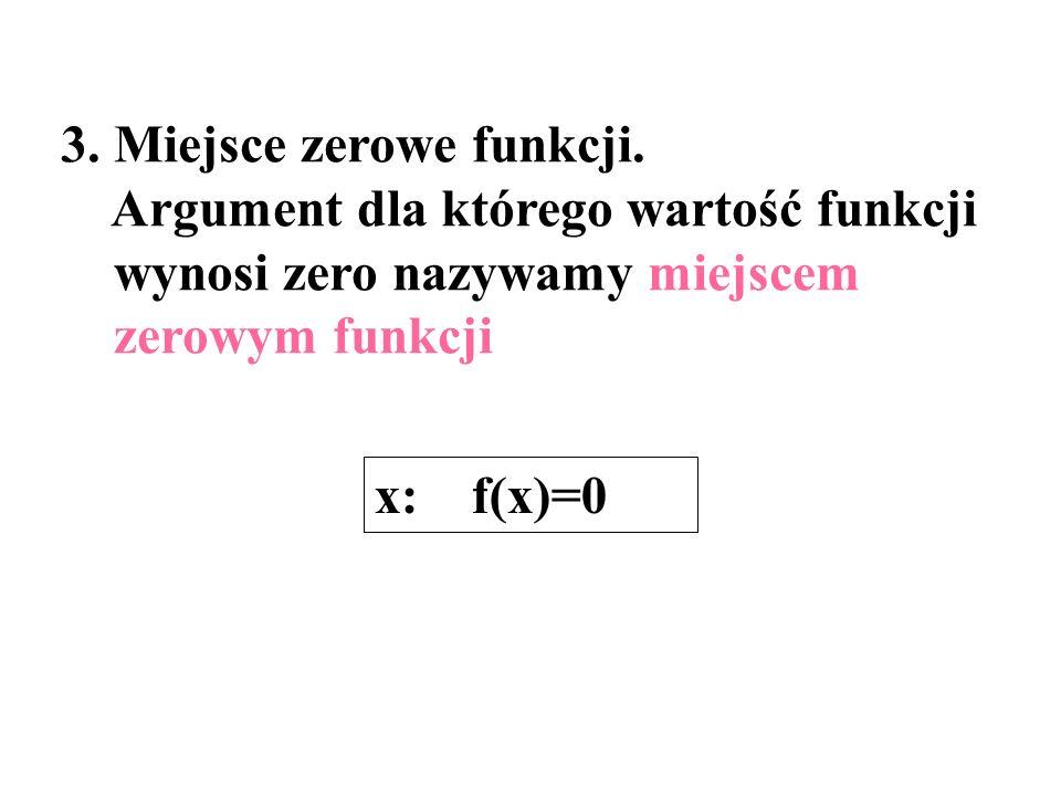 3. Miejsce zerowe funkcji.