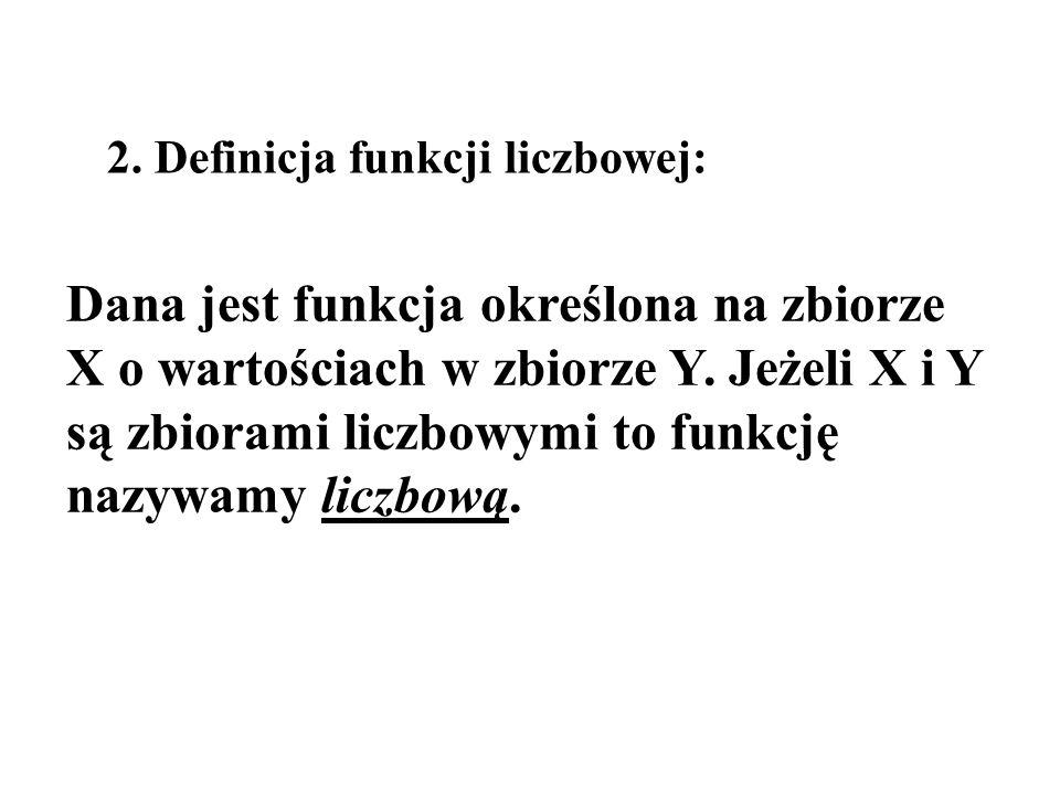2. Definicja funkcji liczbowej: