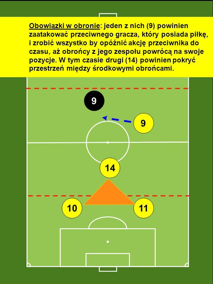 Obowiązki w obronie: jeden z nich (9) powinien zaatakować przeciwnego gracza, który posiada piłkę, i zrobić wszystko by opóźnić akcję przeciwnika do czasu, aż obrońcy z jego zespołu powrócą na swoje pozycje. W tym czasie drugi (14) powinien pokryć przestrzeń między środkowymi obrońcami.