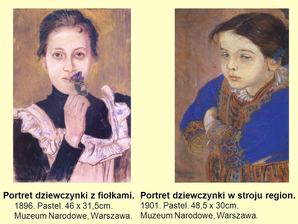 Portret dziewczynki z fiołkami. 1896. Pastel. 46 x 31,5cm