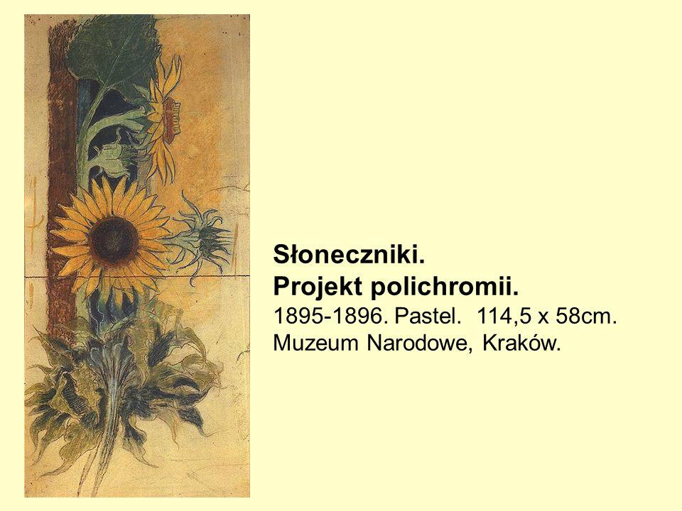 Słoneczniki. Projekt polichromii. 1895-1896. Pastel. 114,5 x 58cm