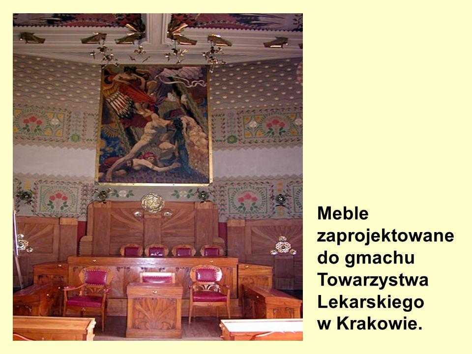 Meble zaprojektowane do gmachu Towarzystwa Lekarskiego