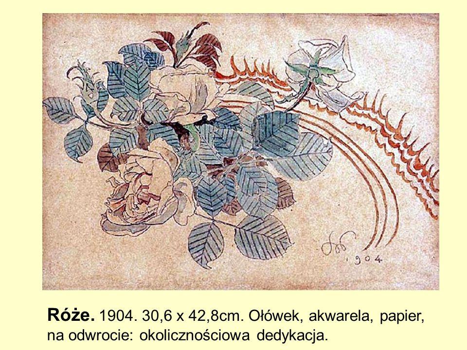 Róże. 1904. 30,6 x 42,8cm. Ołówek, akwarela, papier, na odwrocie: okolicznościowa dedykacja.