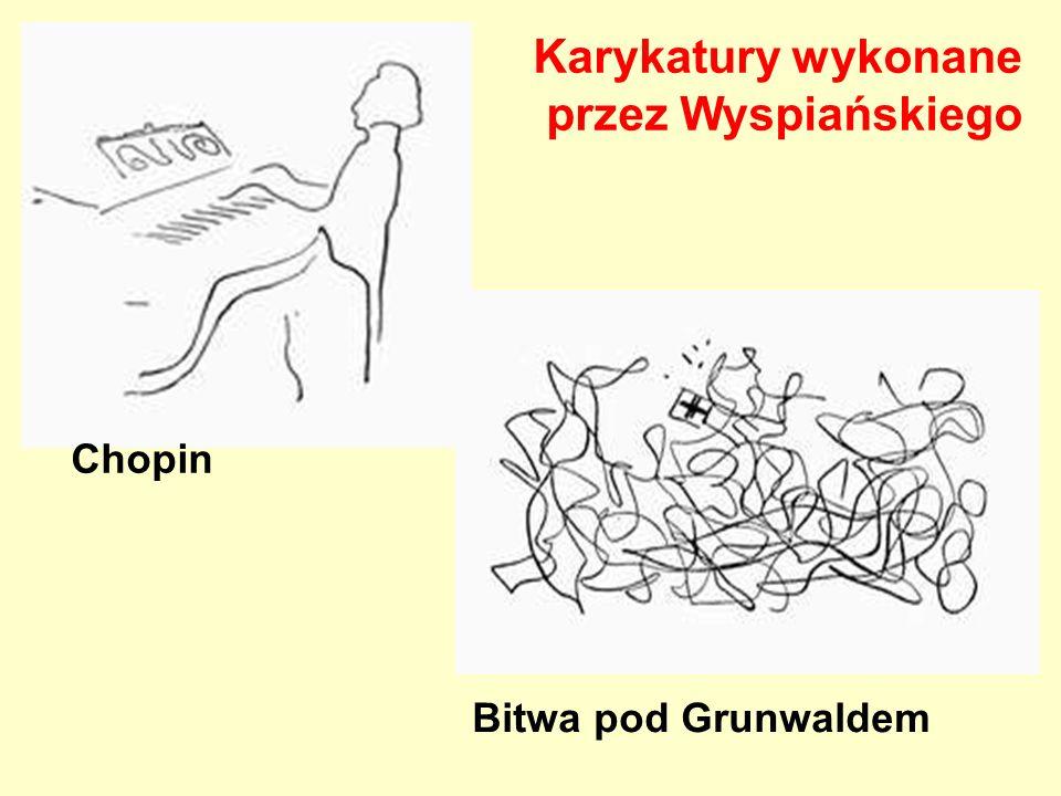 Karykatury wykonane przez Wyspiańskiego Chopin Bitwa pod Grunwaldem