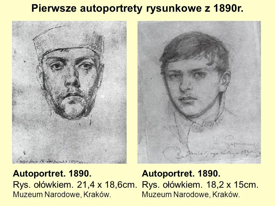 Pierwsze autoportrety rysunkowe z 1890r.