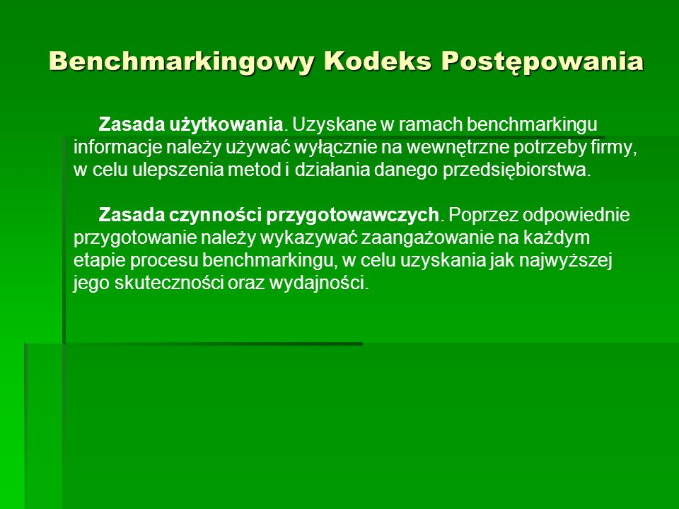 Benchmarkingowy Kodeks Postępowania