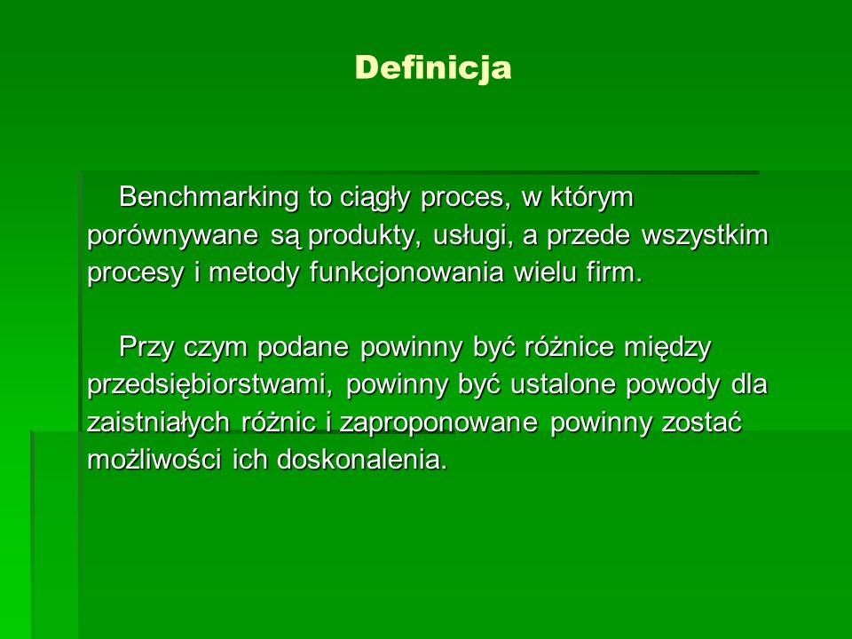 Definicja Benchmarking to ciągły proces, w którym