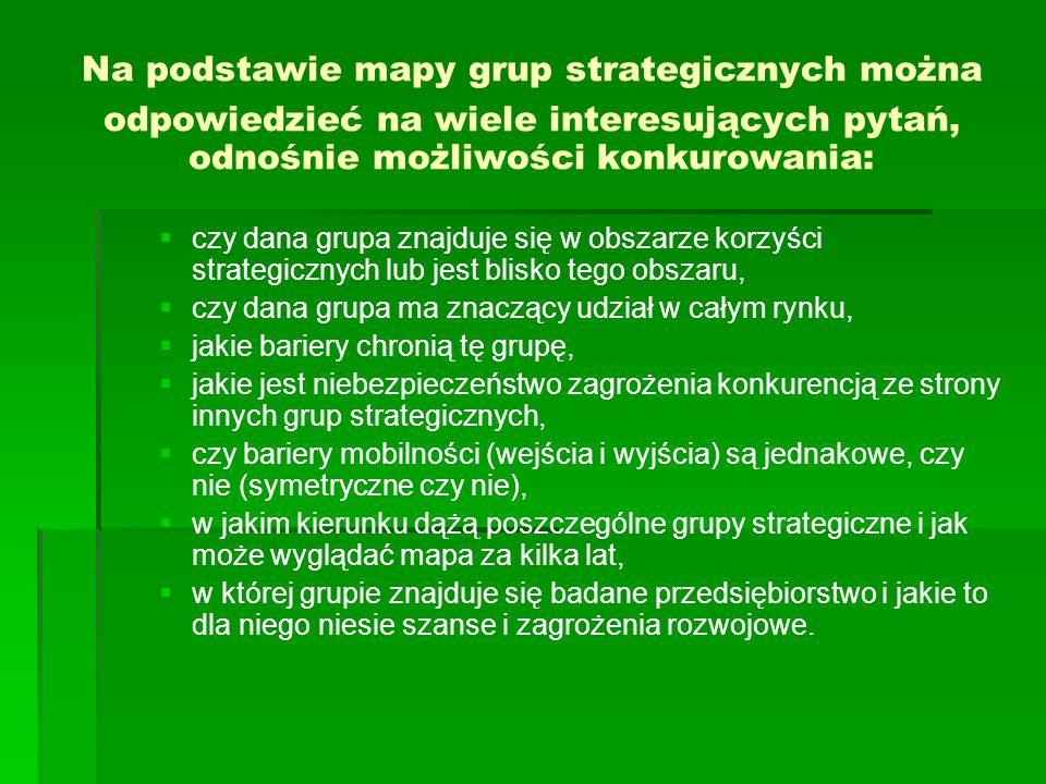 Na podstawie mapy grup strategicznych można odpowiedzieć na wiele interesujących pytań, odnośnie możliwości konkurowania: