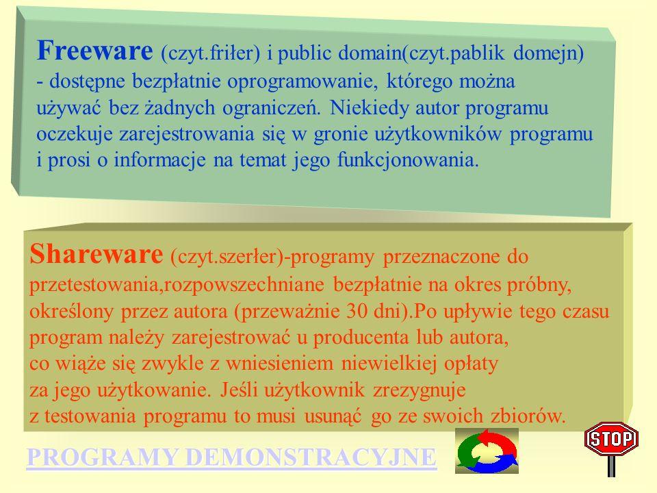 Freeware (czyt. friłer) i public domain(czyt