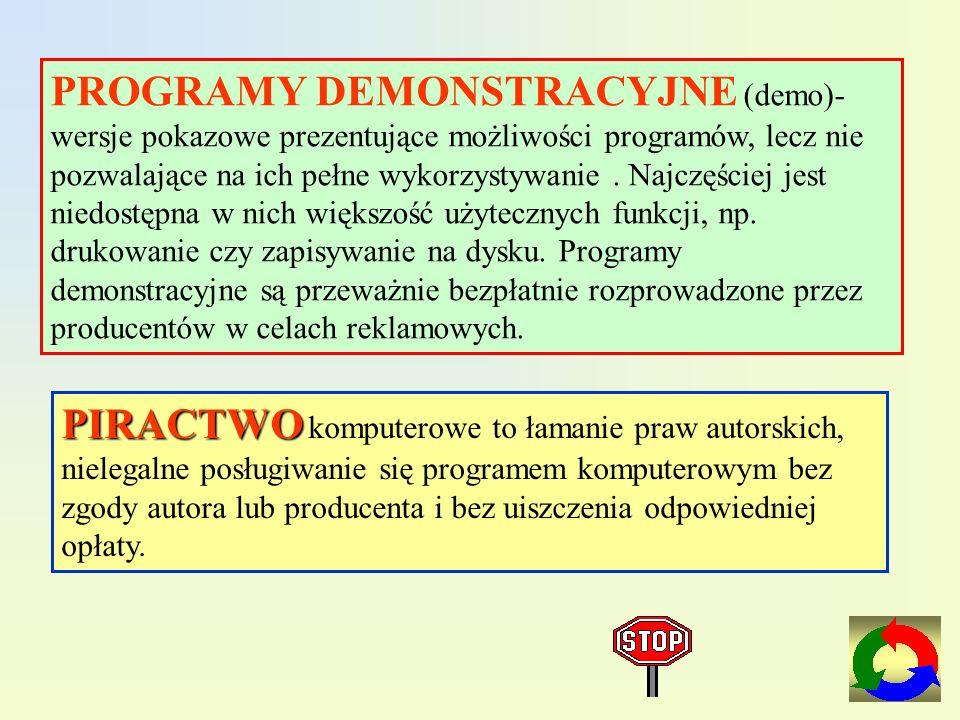 PROGRAMY DEMONSTRACYJNE (demo)-wersje pokazowe prezentujące możliwości programów, lecz nie pozwalające na ich pełne wykorzystywanie . Najczęściej jest niedostępna w nich większość użytecznych funkcji, np. drukowanie czy zapisywanie na dysku. Programy demonstracyjne są przeważnie bezpłatnie rozprowadzone przez producentów w celach reklamowych.