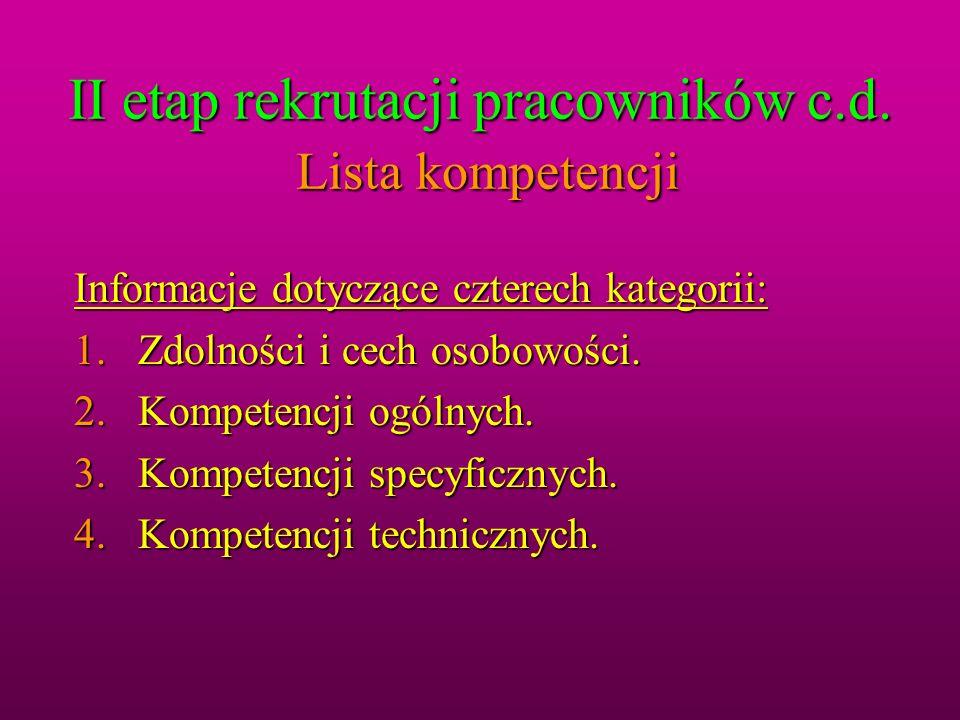II etap rekrutacji pracowników c.d. Lista kompetencji