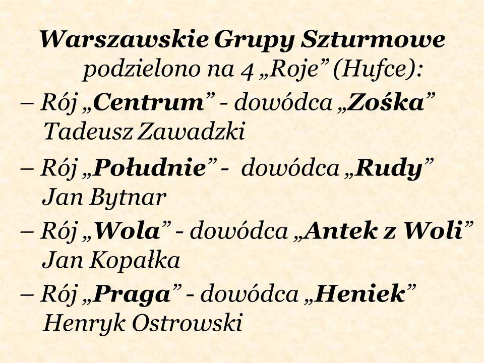 """Warszawskie Grupy Szturmowe podzielono na 4 """"Roje (Hufce):"""