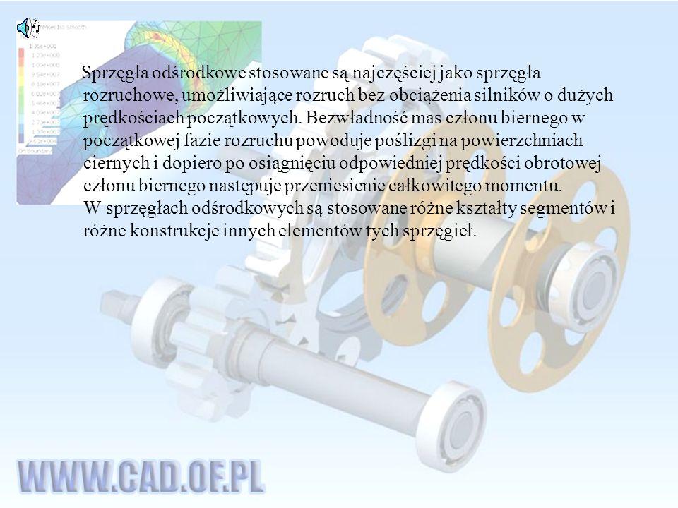 Sprzęgła odśrodkowe stosowane są najczęściej jako sprzęgła rozruchowe, umożliwiające rozruch bez obciążenia silników o dużych prędkościach początkowych.