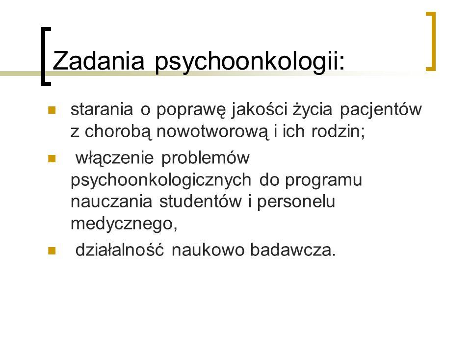 Zadania psychoonkologii: