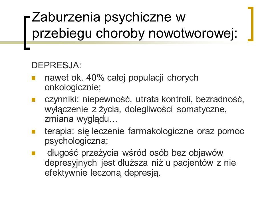 Zaburzenia psychiczne w przebiegu choroby nowotworowej: