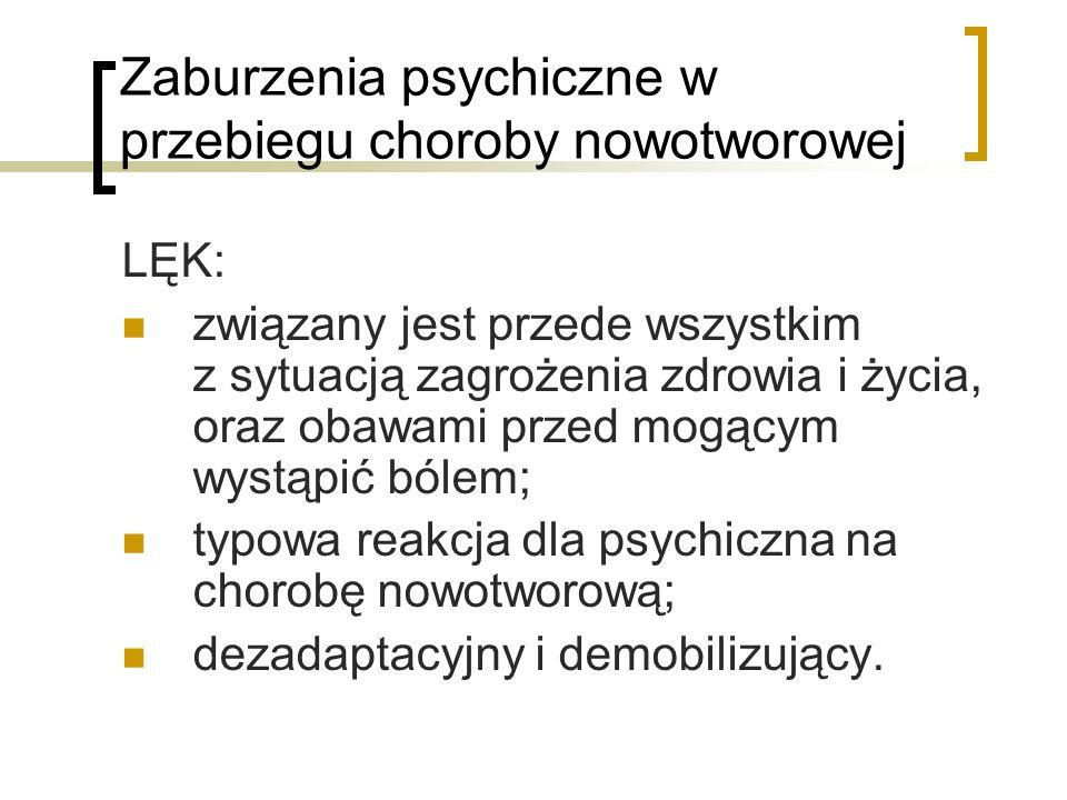 Zaburzenia psychiczne w przebiegu choroby nowotworowej
