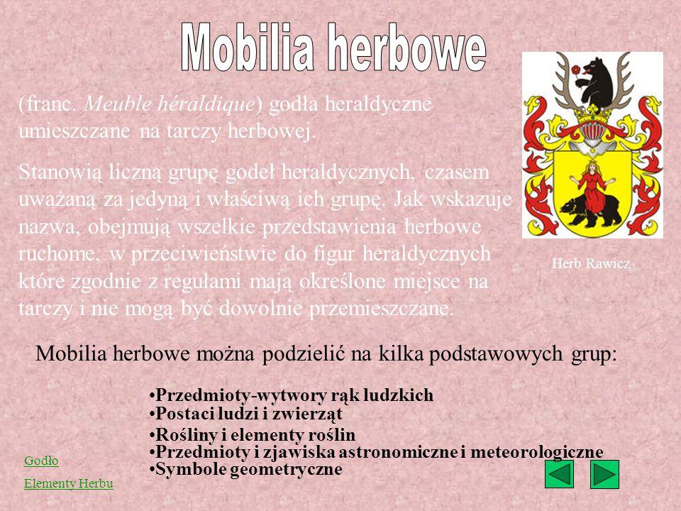 Mobilia herbowe można podzielić na kilka podstawowych grup: