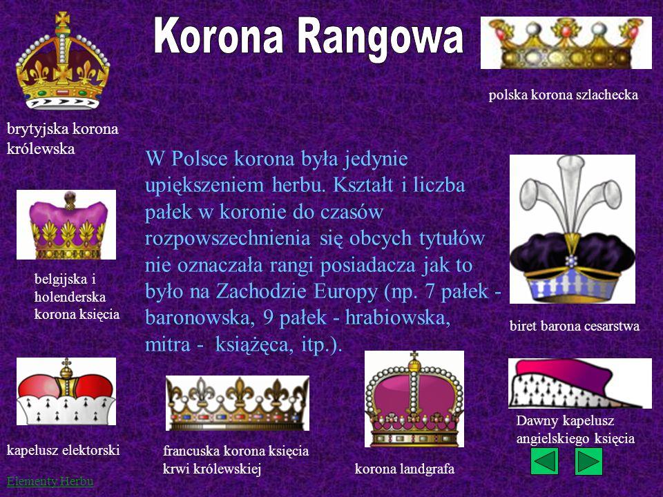 Korona Rangowa polska korona szlachecka. brytyjska korona królewska.