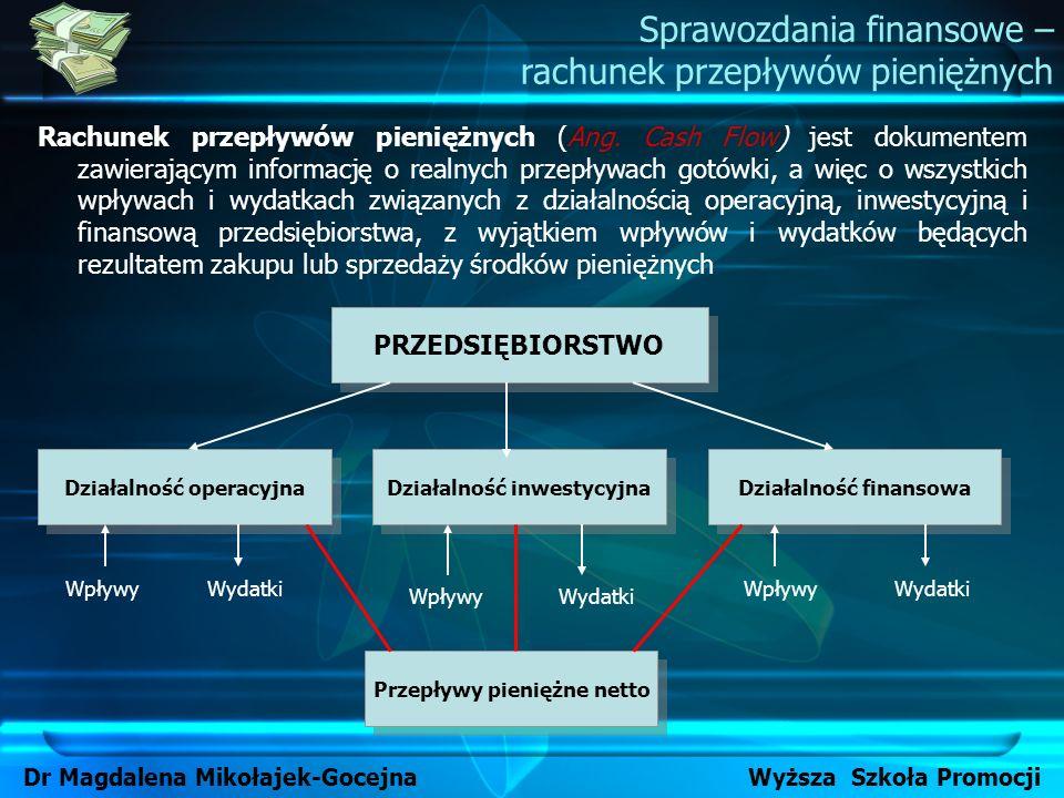 Sprawozdania finansowe – rachunek przepływów pieniężnych