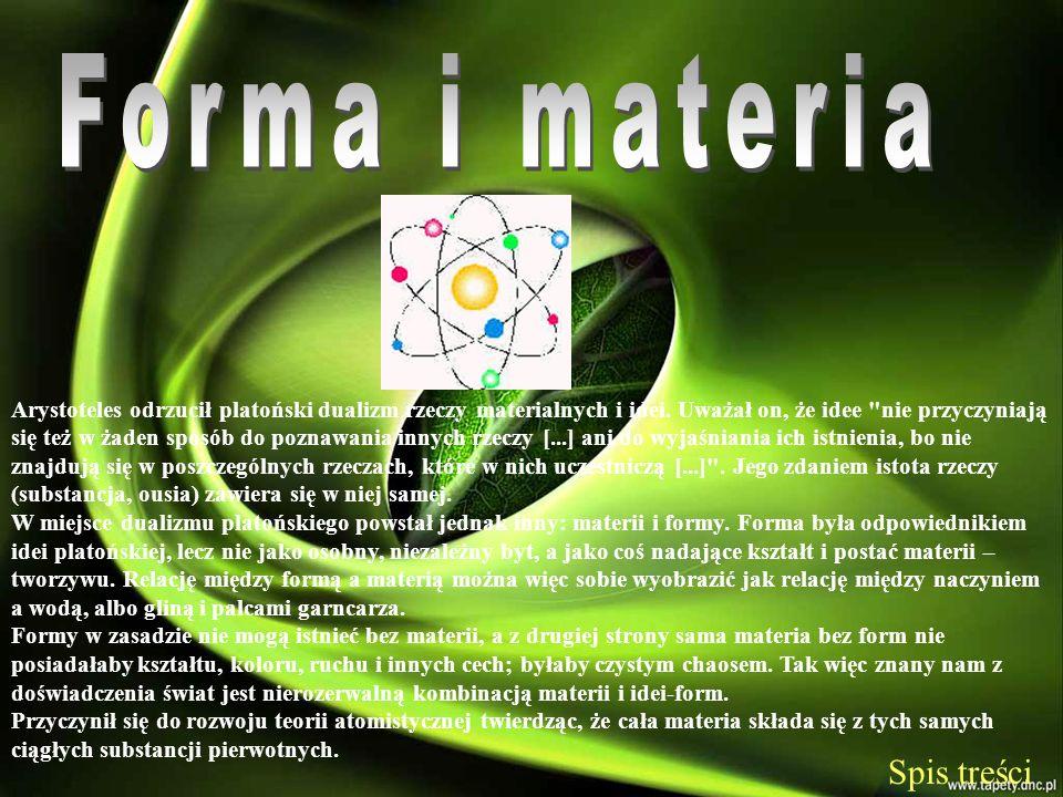 Forma i materia Spis treści